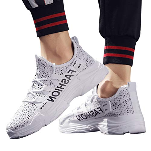 Men's Breathable Knit Sneakers - Stylish Athletic-Inspired Walking Shoes Outdoors Summer Running Trainning Tennis Shoe (White, US:5.5) by Cealu (Image #1)