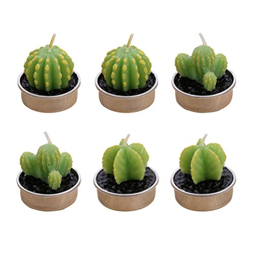 BESTONZON 12 UNIDS Mini Cactus Suculentas Velas Tealight Sin Humo Planta Verde para Cumpleaños Boda Fiesta de Navidad SPA...
