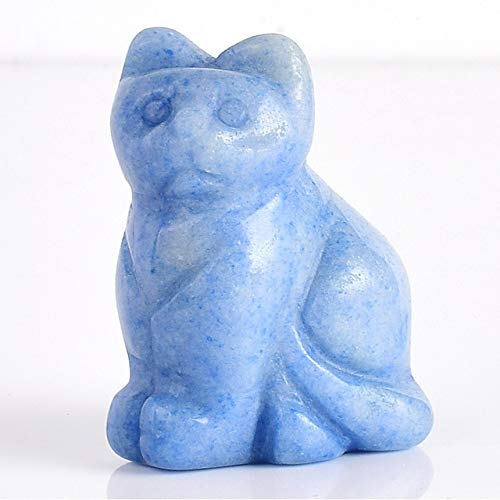 - DAVITU 1.5 inch Crystal Cat Animal Statue Carved Cute Cat Figurine Gemstone Figurines for Home Decor Chakra Healing Fun Toys as Gifts - (Color: Blue Aventurine)