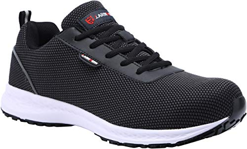 LARNMERN Steel Toe Womens Safety Shoes, Breathable Lightweight Reflective Strips SRB Industrial and Construction Shoes (7.5,Black)