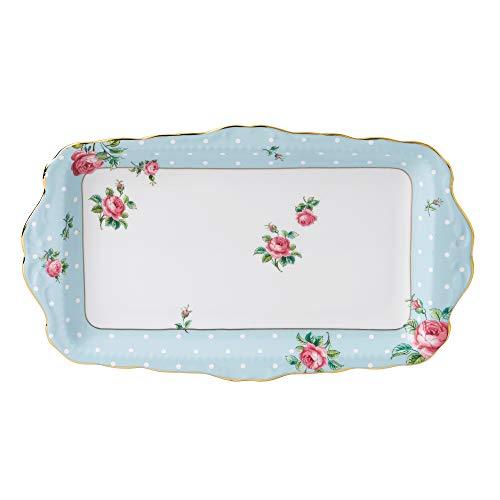 Royal Albert 8705026137 Vintage Formal Sandwich Tray, Polka Blue