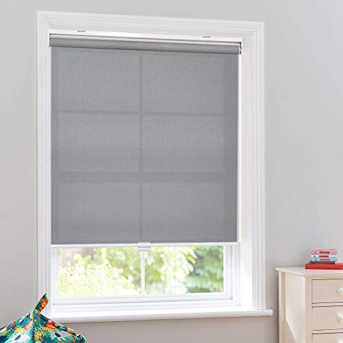 Keego Custom Cordless Light Filtering Privacy Window Shades, Free-Stop Spring Roller Blinds for Windows for Living Room/Bedroom/Nursery/Office and More [Gray 95% Blackout,48″ W x 60″ H(Inch)]
