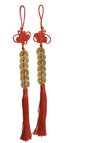Chinese Red Enless Knot Feng Shui Lucky 6 Coins for Wealth and Good Fortune-- 2pcs (Feng Chinese Shui)