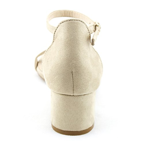 Ankle Buckle Women's Block Kiki Sandals Low Heel Open Heeled Calico Strap Taupe Toe qSgtZ