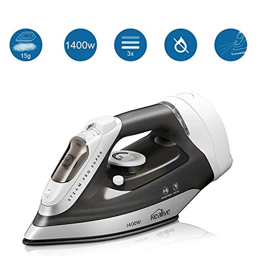 kealive Steam Iron, Omnipotent Professional Large Anti-Drip Nonstick Iron, Vertical Steam Burst Clothes Iron, Anti-Calcium System, Self-Clean, Retractable Cord, Steam Control (Maytag M400 Speed Heat Iron & Vertical Steamer)
