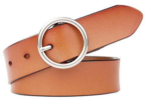 WERFORU Women Casual Dress Belt Genuine Leather Belt with Round Buckle (Suit Pant Size 35