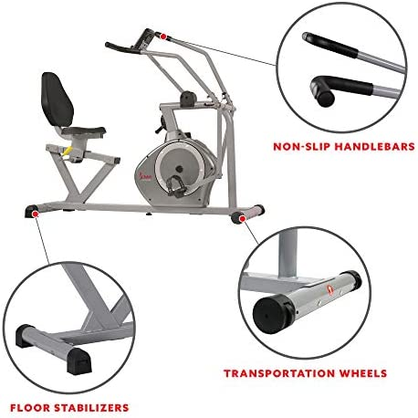 Sunny Health & Fitness Magnetic Recumbent Bike Exercise Bike, 350lb High Weight Capacity, Cross Training, Arm Exercisers, Monitor, Pulse Rate Monitoring - SF-RB4708 5