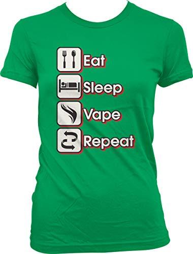 Hoodteez Eat, Sleep, Vape, Repeat Juniors T-Shirt, L - Ohm Coils Sub Vape
