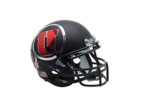 NCAA Utah Utes Matte Black Authentic Helmet, One Size by Schutt