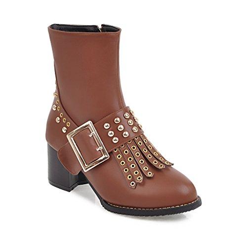 AnMengXinLing Women Ankle Boots Rivets Studded Zipper Shoes Chunky Heel Zipper Studded Dress Booties B07FQJ3X1Y Shoes 0442a6
