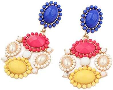 Punk Style Colorful Resin Bead Flower Link Dangle Stud Earring for Women