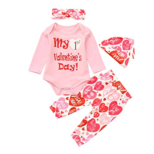 LNGRY Baby Outfits,Toddler Infant Kid Boys Girls My 1st Valentine's Day Romper Tops+Heart Pants Hat+Headband Set (0-6 Months, Pink) (Day Valentines Twin Onsies)