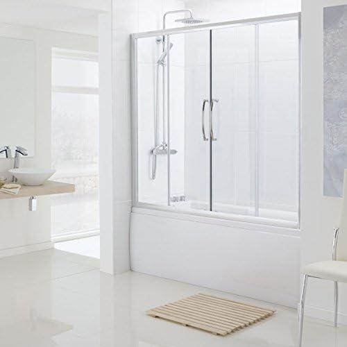 Lagos Oval Semi sin marco baño doble puerta corredera – 1500 mm – plata – cristal transparente – Flush baño: Amazon.es: Hogar