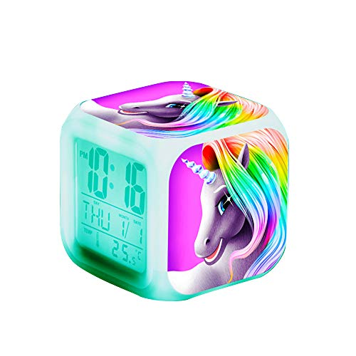 Unicorn Digital Alarm Clocks for Girls, LED Night Glowing Cube LCD Clock with Light Children Wake Up Bedside Clock Birthday Gifts for Kids Women Bedroom (Rainbow)