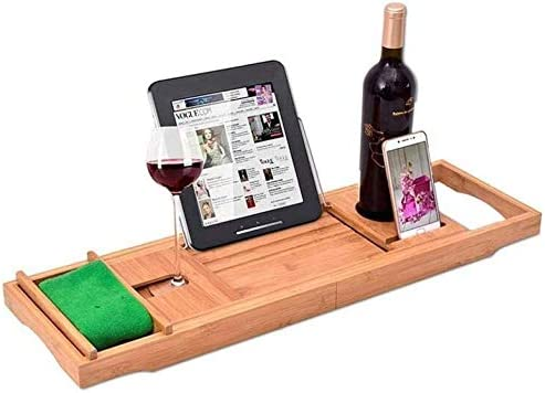 竹バスタブキャディトレイ拡張可能なスパ主催の自然、環境に優しい木材の統合タブレット、携帯端末、ワイン、ゴブレット、タオル
