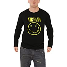 Nirvana T Shirt Classic Smiley Face Logo Official Mens Black Long Sleeve