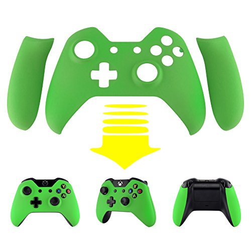 eXtremeRate-Green-Soft-Touch-Front-Shell-Faceplate-with-Left-Right-Panel-Handle-Side-Rails-for-Microsoft-Xbox-One-Controller