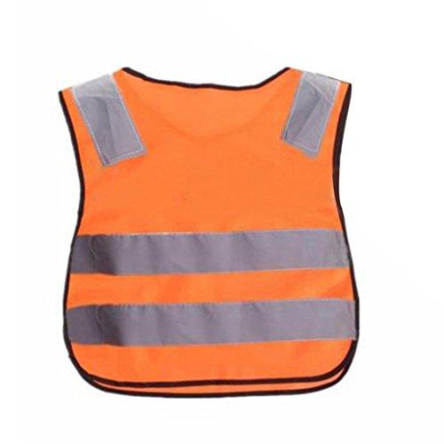 Floralby Kids High Visability Safety Vest School Children Reflective Vest Small Jacket (Orange+red)