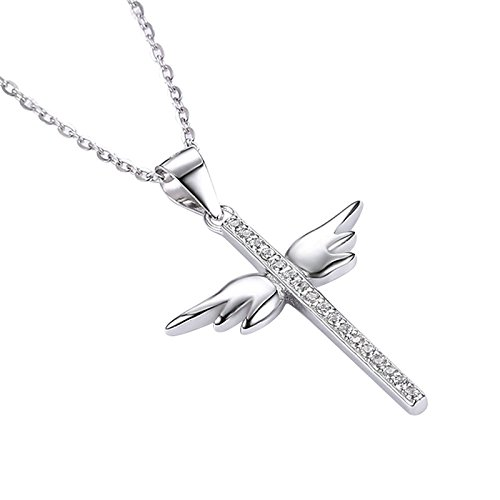 Silver Womens Necklace Cross Pendant Angel Wings White Crystal Adjustable Chain(15.7in + 2in) - Australian Bat Wolf