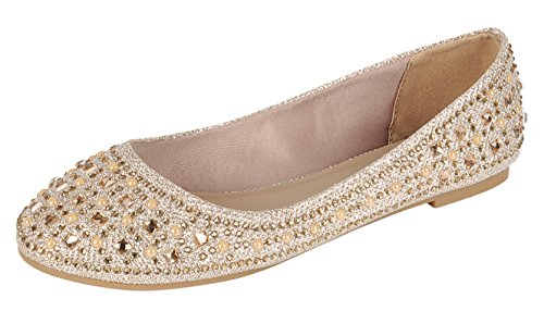Forever Link Women's Sparkle Bead Crystal Embellished Metallic Dress Ballet Flat Champagne 10