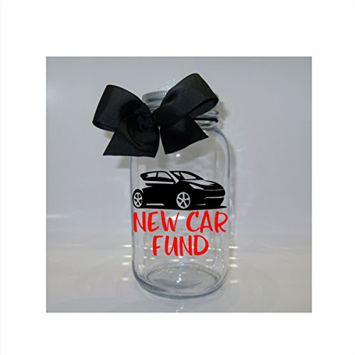 Fund Jar (New Car Fund Mason Jar Bank - Coin Slot Lid - Available in 3 Sizes)