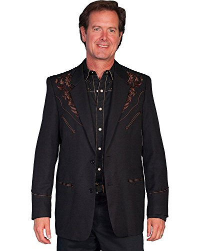 Scully Men's Floral Embroidered Western Jacket Chocolate 44 R
