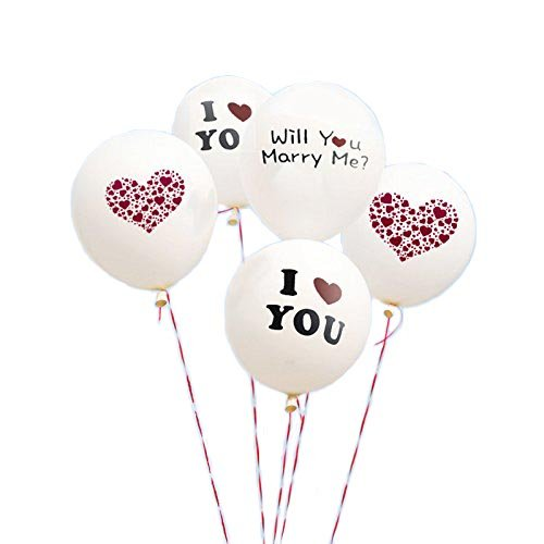 Boieo White Wedding Balloons, I Love You Balloons for Wedding Proposal - 5 pcs -