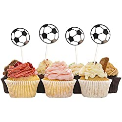 HZOnline Soccer Ball Cupcake Toppers Football Cake Fruit Food Topper Picks Dessert Table for Boys Kids Birthday Party Baby Shower Wedding Cake Christmas Xmas Decoration (30PCS)