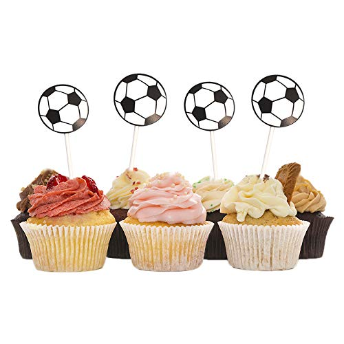 HZOnline Soccer Ball Cupcake Toppers, Football Cake Fruit Food Topper Picks Dessert Table for Boys Kids Birthday Party Baby Shower Wedding Cake Christmas Xmas Decoration (30PCS) (Best Christmas Cake Balls)
