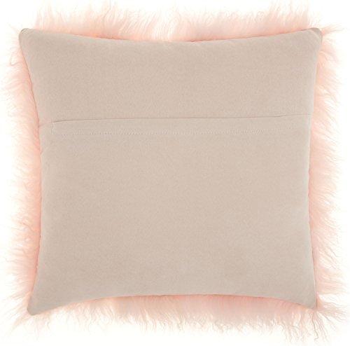Mina Victory by Nourison TIBETAN SHEEPSKIN Mina Victory Rose Decorative Pillow By Nourison, 16″ X 16″
