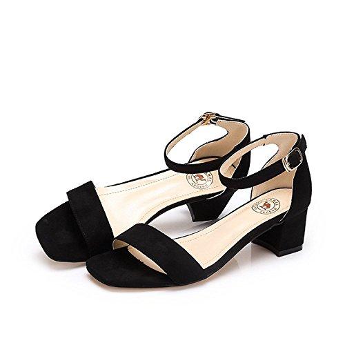 Camel Mujeres Chunky Block Heel Open Toe Tobillero Wrap Correa Vestido Sandalia Negro