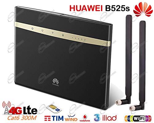 Router Wireless Huawei B525s 4G LTE CAT.6, Wi-FI AC Dual Band, con 4 porte LAN Gigabit, presa RJ11 per telefono fisso/cordless, con due antenne esterne 4G, sbloccato per scheda SIM di Iliad, Tim, Wind, Vodafone, Tre, etc Huawei Technologies CO LTD