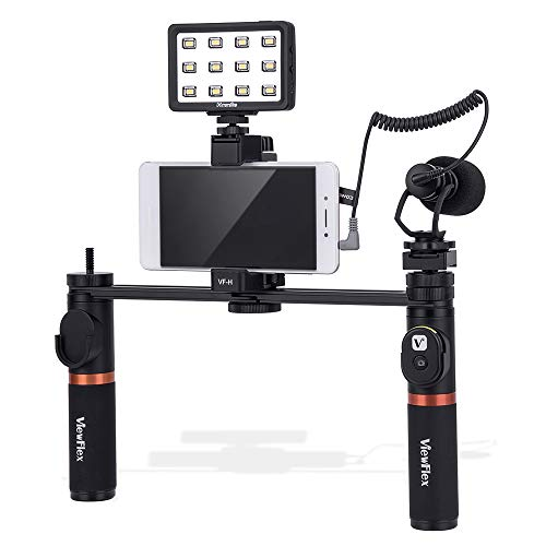 Viewflex Smartphone Video Kit VF-H7 Phone Video Rig Grip with Camera Microphone and Video Light for iPhone XR Xs Max 8 Plus 7 Plus 6 Plus, Samsung Galaxy S10 S9 S8 Note3 LG etc.