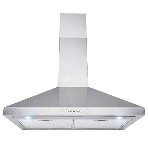 Perfetto Kitchen and Bath 30″ Wall Mount Range Hood Brushed Stainless Steel Push Button Control