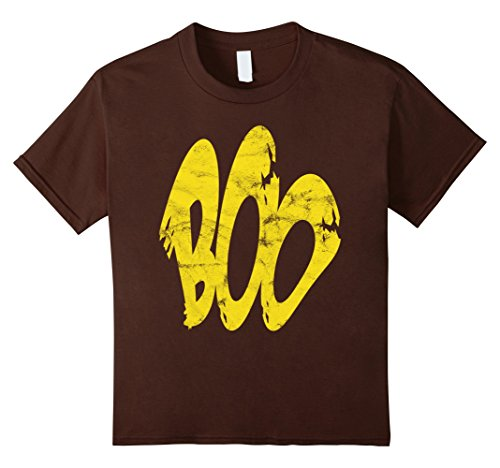 Kids Boo Spooky Yellow Ghost Costume Halloween 2017 T-Shirt 12 Brown