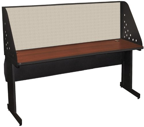 Pronto Pronto School Training Table with Carrel and Lockable Raceway, 72W x 30D - Dark Neutral Finish and Chalk Fabric by Marvel Furniture