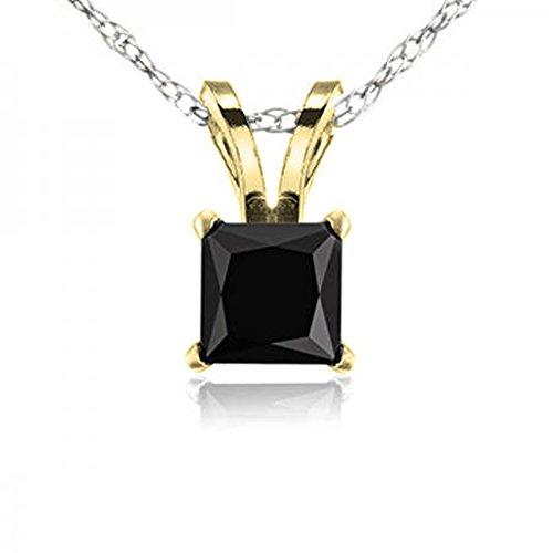 Dazzlingrock Collection 0.25 Carat (ctw) 14K Princess Cut Black Diamond Ladies Solitaire Pendant 1/4 CT, Yellow Gold ()