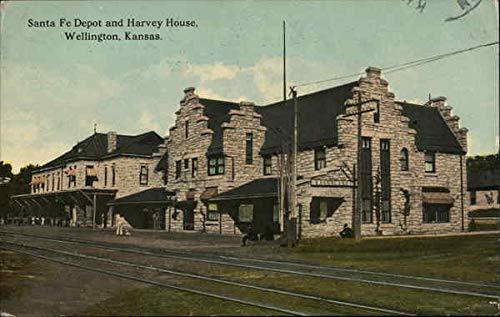Santa Fe Depot and Harvey House Wellington, Kansas Original Vintage Postcard