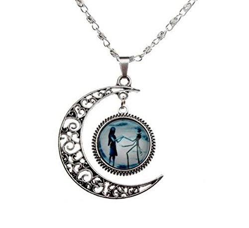 U&MeJewelry Charm Crescent Moon Necklace Nightmare Before Christmas Necklace Pendant,Jack and Sally Necklace,Jack Skellington,His and Hers Necklace,Love Gift,Romantic with Black Gift Box Moon Charm