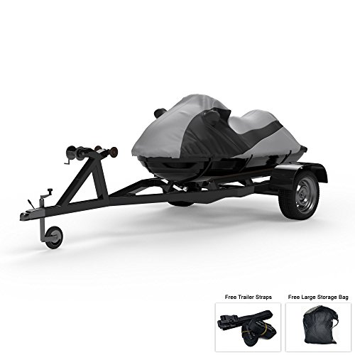 Custom Contour Fit Weatherproof Jet Ski Cover For Sea Doo SPX 1997-1999 - GRAY/Black Color - All Weather - Trailerable - Protect from Rain & Sun! Includes Trailer Straps & Storage Bag Custom Fit Cover Ski
