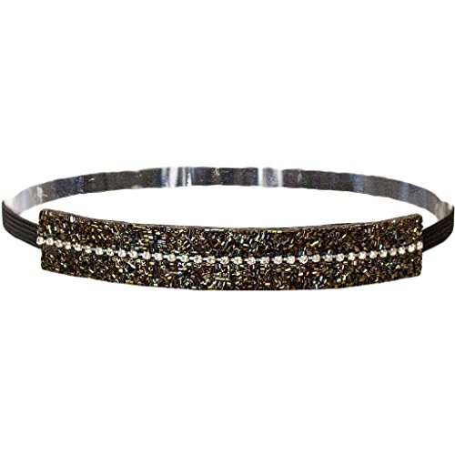 Mia Embellished Beaded Headband-Olive Green and Black Beads with Clear Rhinestones Down Center-One Size Fits All! (1 piece per package)