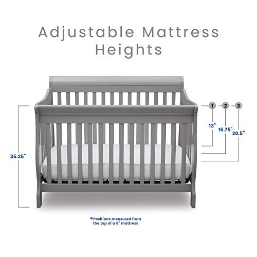 413JDdXakcL - Delta Children Canton 4-in-1 Convertible Crib - Easy To Assemble, Grey