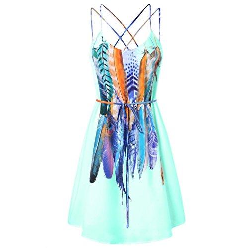 Challyhope Summer Womens Boho Feathers Printed Sexy Camisole Cross Shift Swing Dress (XXL, Green)