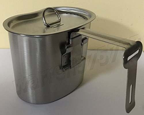 WWII STYLE Stainless Steel Canteen Cup With Vented LID for 1 QT. Canteen. by G.A.K