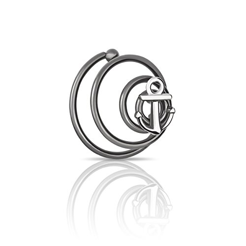 925 Sterling Silver Beard Twist Jewelry Mans Facial Hair Decoration Accessories, Beard Hairpin Hairband BeardPiece, Beard Styling Shaping Mens Jewelry Silver Anchor Charm