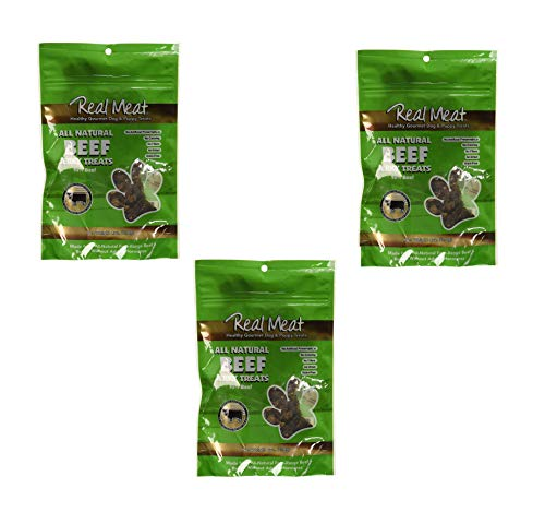(The Real Meat Company 3 Pack of Jerky Treats for Dogs, 4 Ounces each, All Natural Beef)
