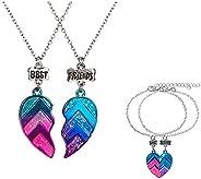 Caiyao Juego de 4 collares y pulseras BFF para mejores amigos, medio corazón, cadena con colgante de corazón y