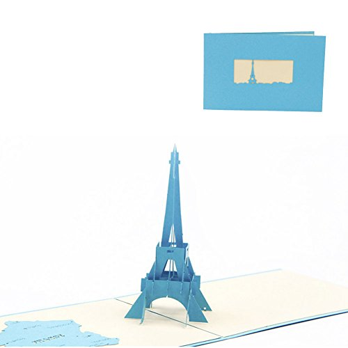 LAYs 3D Pop Up Tower Greeting Card for Friends Families Birthday Anniversary Thanksgiving Christmas (Blue)