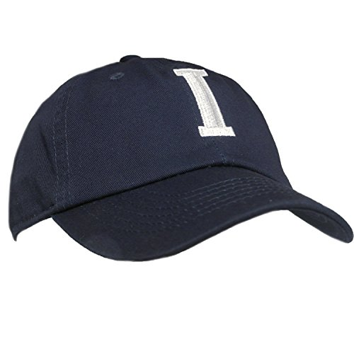 Kids Baseball Cap Hat - Tiny Expressions Toddler Boys' and Girls' Navy Embroidered Initial Baseball Hat Monogrammed Cap (I, 2-6yrs)
