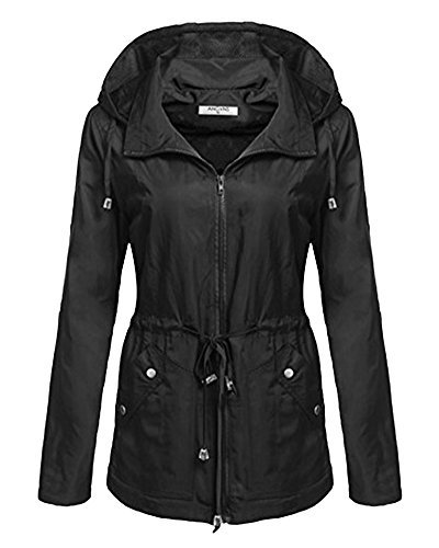 Capucha Coat con Jacket Rompevientos Abrigo Mujer Mangas Impermeable Largas Negro Chaqueta F87w4Wq4t